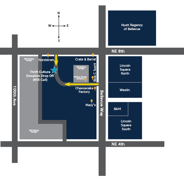 Map to will call and donation bin